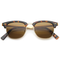 Vintage Retro Half Frame Horned Rim Sunglasses