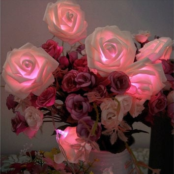 20 LED 3 Colors Rose Flower String Lights Fairy Party Wedding Garden Christmas Decoration [7981624455]