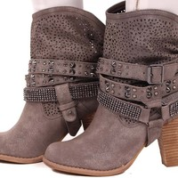 Pewter Grey Distressed Cut Out Bootie