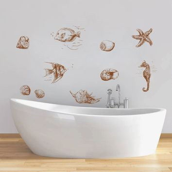 ik1336 Wall Decal Sticker fish seahorse sea star animal bathroom living bedroom
