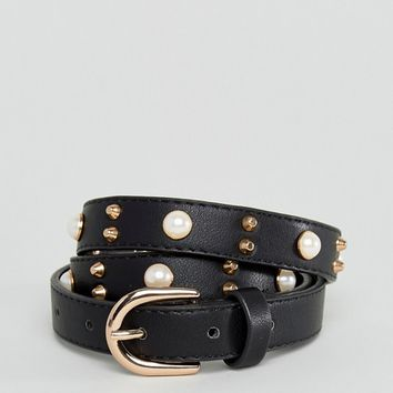 Pieces Stud Detail Belt with Pearls at asos.com