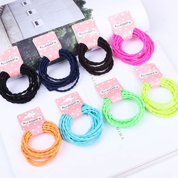 10Pcs/Lot Fashion Candy Color Women Hair Bands High Quality Elastic Headband Lolita Girls Hair Ropes Hair Ornament Accessories