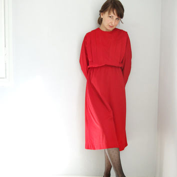 1980s dress vintage. Vintage red dress. Handmade
