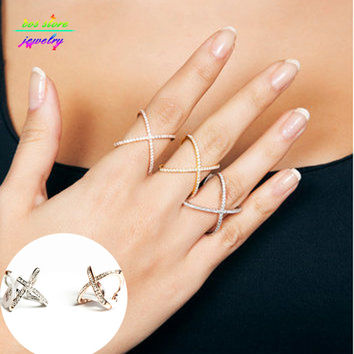 Top Quality Luxury Elegant Gold Tone Cross Ring Plain X Ring Cuff Geometric Knuckle Rings