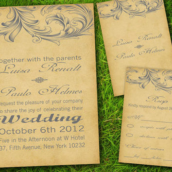 DIY Printable - Vintage Victorian Classic Formal Elegant Grey Customizable Wedding Invitation and RSVP Card Suite