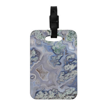 "KESS Original ""Pastel Geode"" Blue Teal Decorative Luggage Tag"