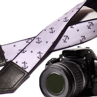 Anchors and Stars camera strap. DSLR / SLR Camera Strap. Camera accessories. Camera strap for Nikon, Sony, Fuji, Panasonic, Canon & other.
