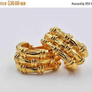 ON SALE Vintage St. John Gold Hoop Clip Earrings, Elongated Hoops, Basket Weave, Shiny, Chunky, Designer, Big, Bold Gold, Beautiful! #b817