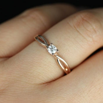 Ultra Petite Erika 3.5mm 14kt Rose Gold Round Diamond Double Twist Engagement Ring (Other metals and stone options available)