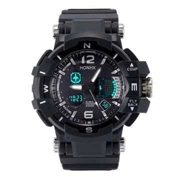 Men's Rubber Band LED Digital Sports Waterproof Diving Quartz Wrist Watch