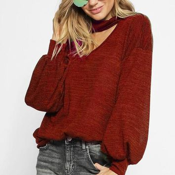 Sweater Knit Top with Puff Sleeves with Cuffs & Choker Neck - Burgundy