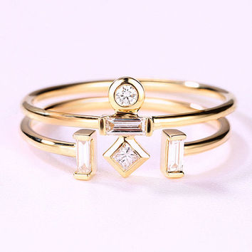 14K Gold Stacking Antique Bridal Set Wedding Open Three Stone Women Unique Retro Engagement Ring Matching Baguette Promise Anniversary Gifts