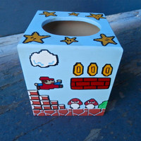 Mario Hand Painted Tissue Box Nintendo Geekery 8 Bit Video Game Arcade Dad Grad Gift