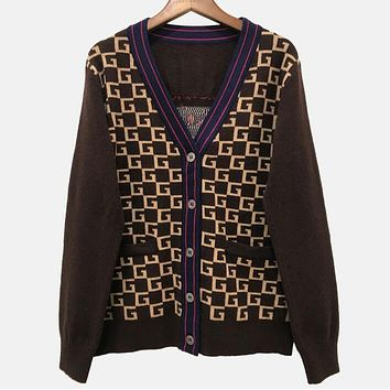 """Gucci""New Trending Women Stylish Jacquard Back Tiger Head Pattern Long Sleeve V Collar Knit Cardigan Sweater Coat"