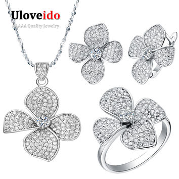 Silver Austrain Crystal Flower Necklace/Earrings/Ring Jewelry Sets for Woman Costume CZ Diamond Bijoux Femme Wedding Bridal T001