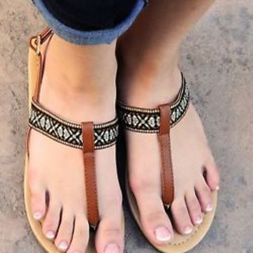 Women's Sandals Flat Tribal Multi Colored Strap Slingback T Strap Sandal Shoes