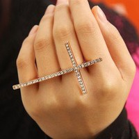 Fashion Cross Diamond Double-Finger Ring | LilyFair Jewelry