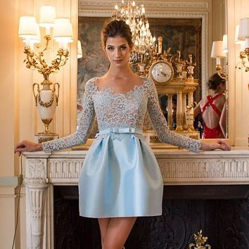 Demure Baby Blue Cocktail Dress 2015 Lace Short Cocktail Dresses Deep V-neck Sash Sexy Dress To Party Long Sleeves