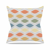 Julia Grifol Waves White Gray Geometric Pattern Digital Vector Throw Pillow