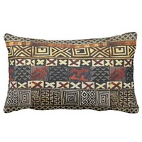 Aged African Mud Cloth Graphic Lumbar Pillow