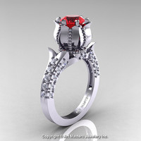 Classic 14K White Gold 1.0 Ct Ruby Diamond Solitaire Wedding Ring R410-14KWGDR