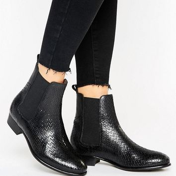 H by Hudson Leather Flat Chelsea Boot at asos.com