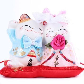 Ceramic Lucky Cat Dual Couple Piggy Bank Maneki Neko Wedding Gift Valentine Decoration