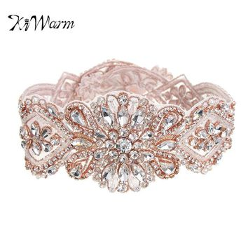 KiWarm 100% Handmade Crystal Beads Bridal Wedding Dress Ornaments Women Gorgeous Rhinestone Party Wedding Belt Accessories