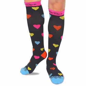 RioRiva Compression Socks for Women & Men with Reinforced Base and Colorful Lovely Dot 20-30 mmHg (1 Pair) Compression Stocking