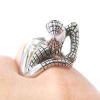 Realistic Spiderman Wrapped Around Your Finger Ring in Shiny Silver | US Size 8 and 9