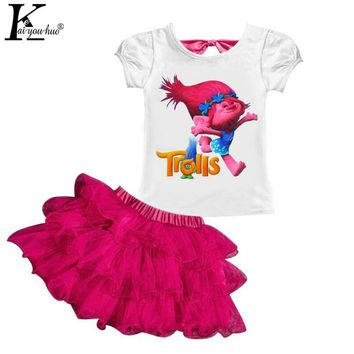Children Clothing Summer Girls Clothes Trolls Sets Tracksuits For Kids Sport Suits Elsa And MOANA Kids Clothes 3 4 5 6 7 8 Years