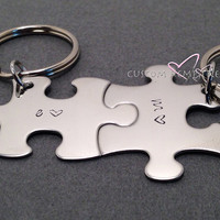 Valentines Day Gift, Couples Keychains, Initial Keychains, Personalized Gift, Personalized keychains, Couples Gift, Valentines hearts