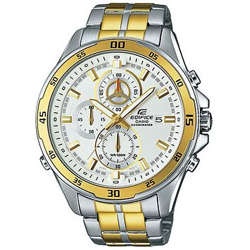 Casio Edifice Illuminator Mens Chronograph - White Dial - Two-Tone Bracelet