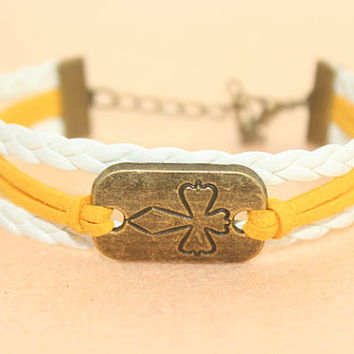cross bracelet--love bracelet,antique bronze charm bracelet,white braid leather bracelet,MORE COLORS