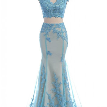 Light Blue Two Piece Mermaid Prom Dresses