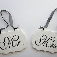 Wedding Signs, Mr. and Mrs. Decorative Wedding Signs/ Wedding Chair Signs / Custom Colors Available