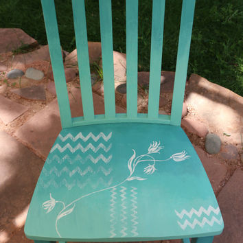 Hand painted whimsical chair ombre chevron floral pattern.
