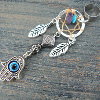 hamsa hand dreamcatcher ear cuff protection hamsa hand in belly dancer indie gypsy hippie morrocan boho and hipster style