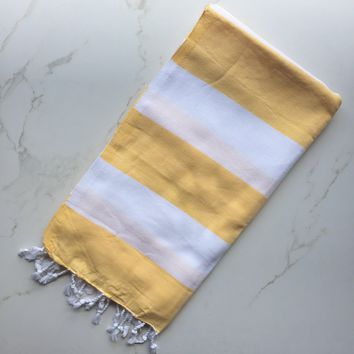 Turks Yellow/White Turkish Towel