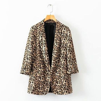 Leopard Print Notched Collar Blazer