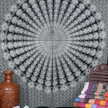 Bohemian Tapestry Wall Hanging, Peacock Feathers Mandala Tapestry, Large Wall Art, Black and White Tapestry, Hippie Boho Decor
