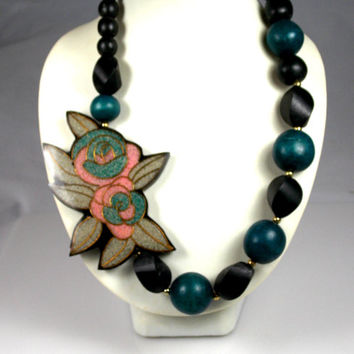 Wood Lacquered Enamel Flower Necklace Pink Green Black