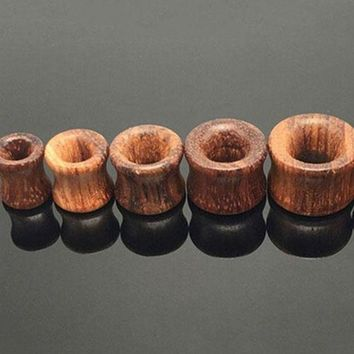 ac ICIKO2Q Solid Organic Natural Double Flared Saddle Ear Plugs Flesh Tunnels Hollow Gauge