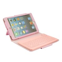 iPad Mini/Ipad Mini 2/3 Keyboard, Fulland Wireless Silicone Bluetooth Keyboard Case cover for Apple iPad Mini (2012 Version) and iPad Mini 2/3 (2013, 2014 Version) with Retina display Tablet -Pink