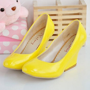 Women new fashion Spring summer sweet patent leather wedges 7cm high-heeled sandals round toe shoes large plus size 40-45