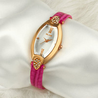Woman Bracelet Watch Geneva Leather Band Elegant Delicate Oval Diamond Simple High-quality Female Party Watch Rose Gold