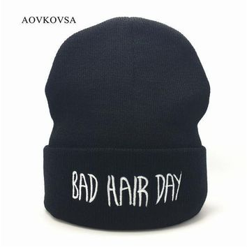 Aovkovsa Bad Hair Day Winter Men Knitted Hat 2017 Fashion Casual Gorros Elastic Bonnet Skullies Women Beanies Cap