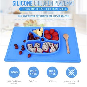 Baby Slip-resistant One-piece Silicone Suction Cup Placemat Bowl