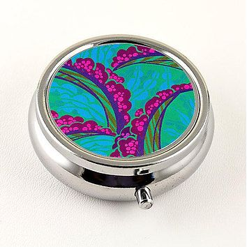 Tropical Floral Pill Box in Teal and Pink
