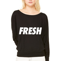 Fresh WOMEN'S FLOWY LONG SLEEVE OFF SHOULDER TEE